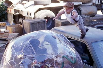 Jimmy ( Jake Gyllenhaal ) encounters Dr. Phreak ( Verne Troyer ) in Touchstone's Bubble Boy
