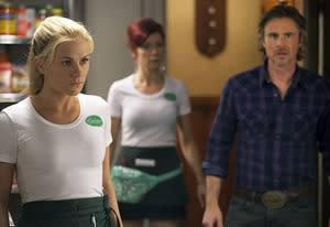 Anna Paquin, Carrie Preston and Sam Trammell | Photo Credits: John P. Johnson/HBO