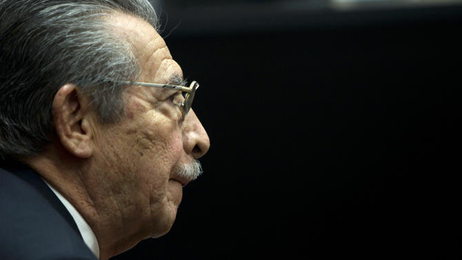 Guatemala's former dictator Efrain Rios Montt (1982-1983) attends a pre-trial hearing at court in Guatemala City, Wednesday, Jan. 23, 2013. A judge in Guatemala has begun pre-trial hearings in a genocide case against former dictator Efrain Rios Montt, who is accused of overseeing hundreds of killings when he ruled Guatemala from 1982 to 1983, at the height of the country's 36-year civil war. The war ended in peace accords in 1996, after 200,000 deaths. (AP Photo/Moises Castillo)