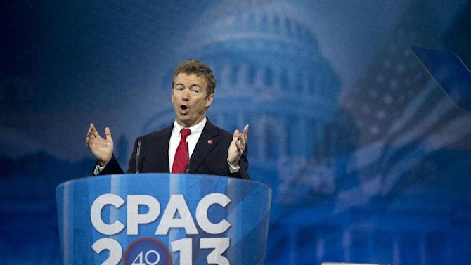Sen. Rand Paul, R-Ky., speaks at the 40th annual Conservative Political Action Conference in National Harbor, Md., Thursday, March 14, 2013.  (AP Photo/Manuel Balce Ceneta)