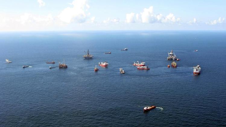 Aerial photograph shows continuing preparations to drill a relief well at the Macondo oil spill site in the Gulf of Mexico
