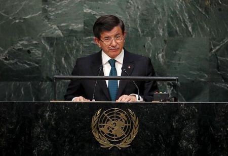 Prime Minister Ahmet Davutoglu of Turkey addresses a plenary meeting of the United Nations Sustainable Development Summit 2015 at the United Nations headquarters in Manhattan, New York