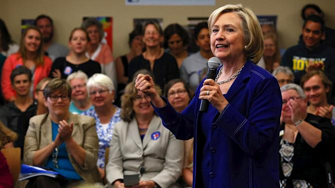 U.S. Democratic presidential candidate Hillary Clinton speaks to the media after a campaign event in Iowa City