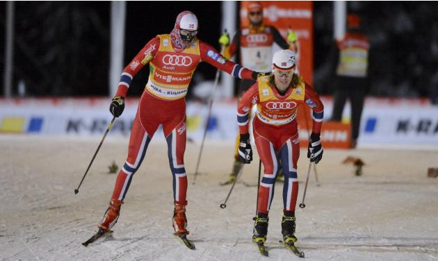 Norway's Krog and Kokslien compete during the cross country skiing at the FIS World Cup Ruka Nordic Opening in Kuusamo