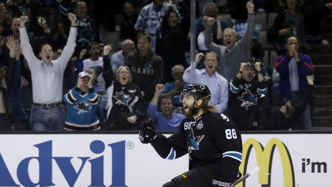San Jose Sharks' Brent Burns (88) celebrates his goal against the Los Angeles Kings during the first period in Game 4 of their second-round NHL hockey Stanley Cup playoff series in San Jose, Calif., Tuesday, May 21, 2013. (AP Photo/Marcio Jose Sanchez)