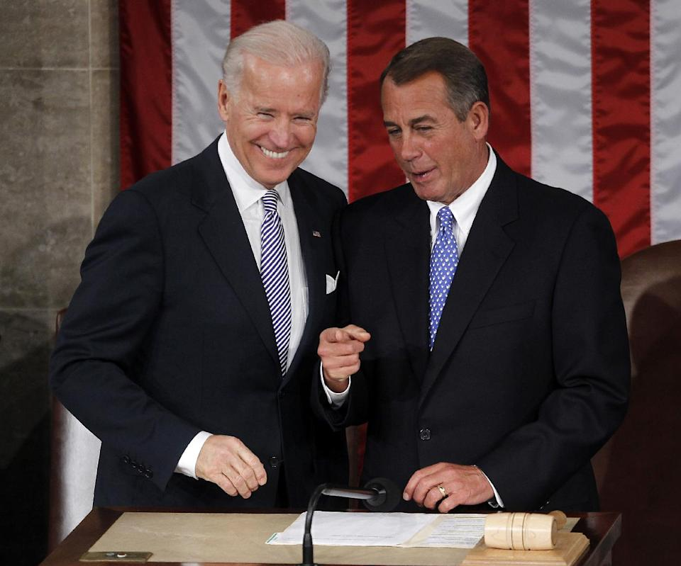 Vice President Joe Biden talks with House Speaker John Boehner of Ohio on Capitol Hill in Washington, Tuesday, Jan. 24, 2012, prior to the start of President Barack Obama's State of the Union address. (AP Photo/Pablo Martinez Monsivais)