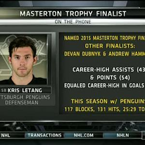 Letang speaks with NHL Live on Masterton Trophy