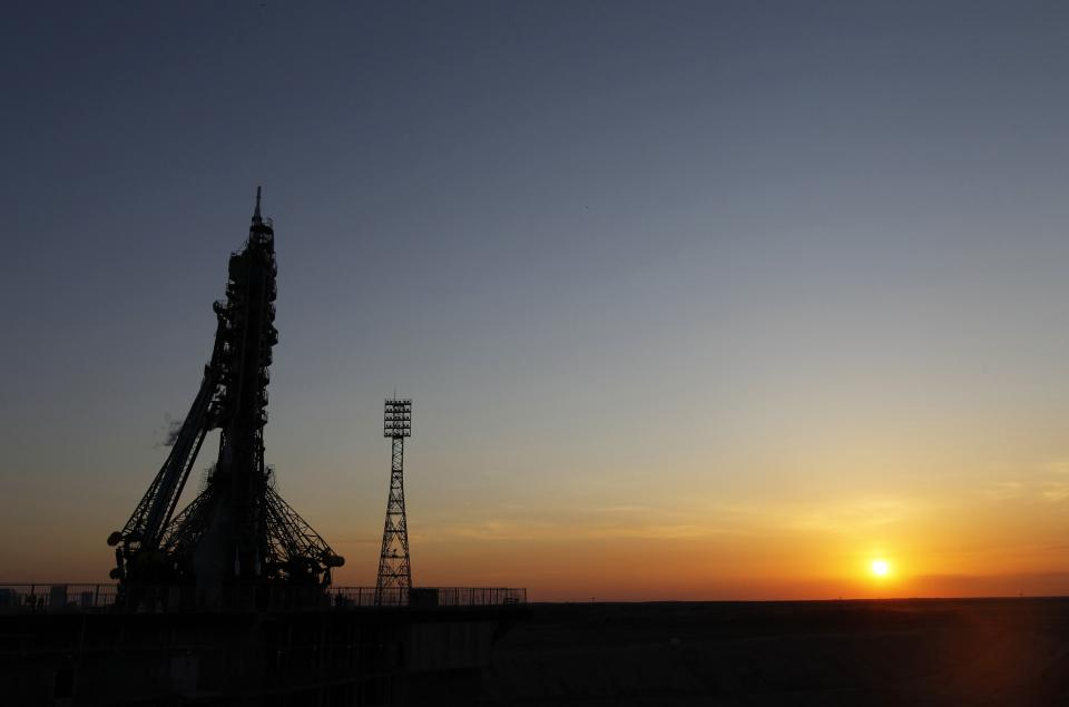 The Soyuz-FG rocket with Soyuz TMA-04M space ship, which will carry a new crew to the International Space Station, sits before its launch at the Russian-leased Baikonur Cosmodrome, Kazakhstan, Tuesday, May 15, 2012.  (AP Photo/Yuri Kochetkov, Pool)