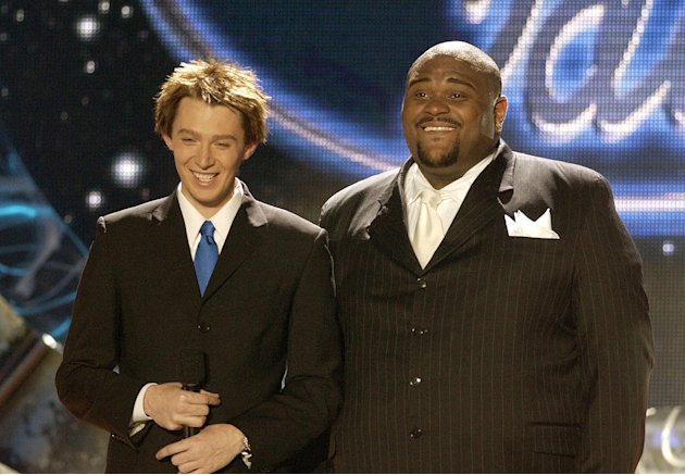"Clay Aiken and Ruben Studdard at the season 2 ""American Idol."" finale."