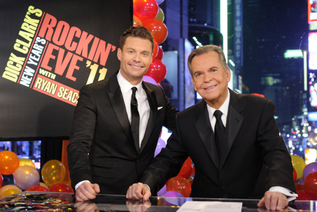 In this image released by ABC, Dick Clark, right, and Ryan Seacrest are shown in New York. Clark and Seacrest will celebrate 40 years of history as they host &quot;Dick Clark&#39;s New Year&#39;s Rockin&#39; Eve with Ryan Seacrest 2012&quot; live from ABC Studios in New York on Saturday, Dec. 31, 2011 on the ABC Television Network. (AP Photo/ABC, Ida Mae Astute)