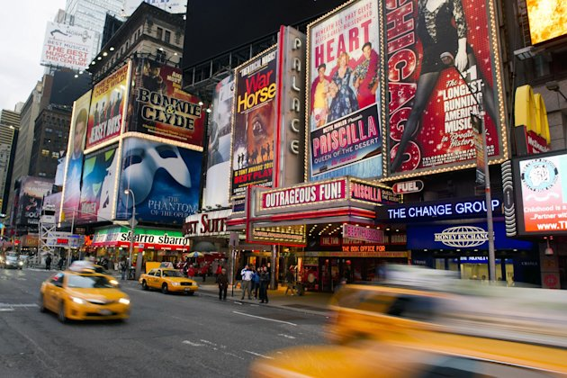 FILE - This Jan. 19, 2012 file photo shows billboards advertising Broadway shows in Times Square, in New York. The TEDxBroadway conference will be help Monday, Jan. 28, 2013, at the off-Broadway complex New World Stages. The one-day event is bringing together more than a dozen producers, marketers, entrepreneurs, academics, economists and artists. All will try to answer the question: &quot;What is the best Broadway can be?&quot; (AP Photo/Charles Sykes, file)