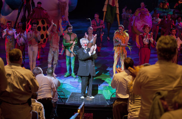Brian Dewhurst, center, gets a standing ovation after performing as Brian Le Petit in one of two nightly Cirque du Soleil shows of Mystere, Tuesday, May 22, 2012, at Treasure Island hotel-casino in La