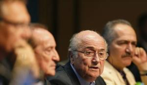 FIFA President Blatter attends a media conference in Sao Paulo