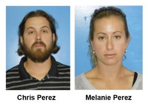 These Thursday, June 6, 2013 booking photos provided by the Rocky River, Ohio police department show Cleveland Indians relief pitcher Chris Perez and his wife, Melanie Perez. Perez and has wife have been charged with misdemeanor drug possession in the shipment of just over one-third of a pound of marijuana mailed to their home. (AP Photo/Rocky River Police Department)