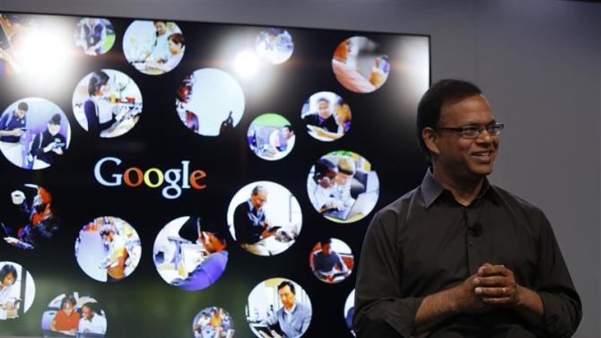 Singhal, senior vice president of search at Google, speaks at the garage where the company was founded on Google's 15th anniversary in Menlo Park, California