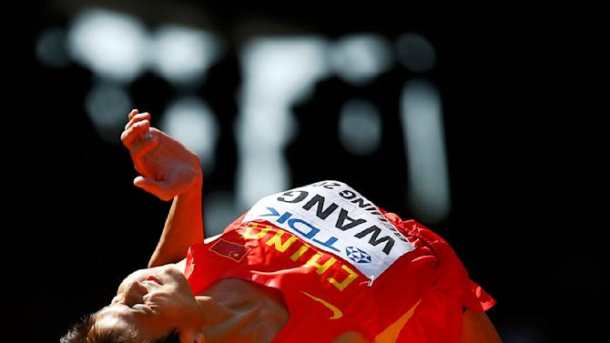 Wang of China competes in men's high jump qualification at 15th IAAF World Championships in Beijing
