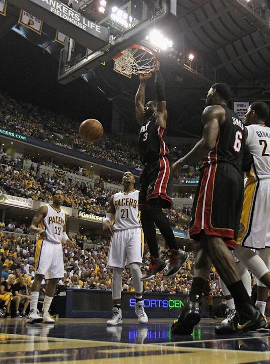Dwyane Wade #3 Of The Miami Heat Dunks Getty Images