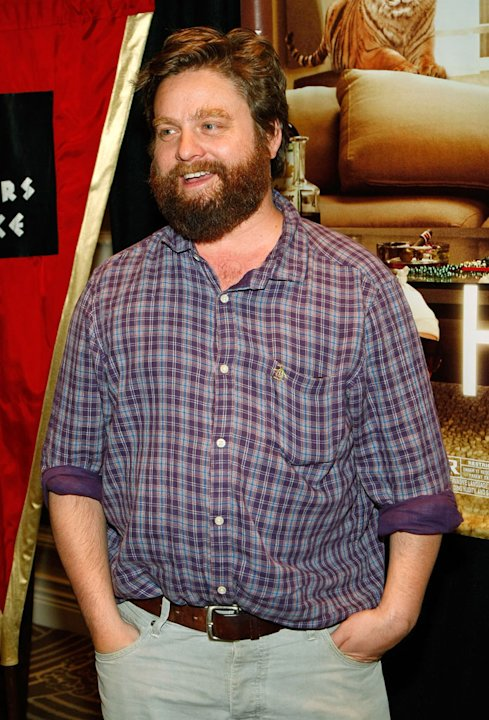 "Zach Galifianakis at a charity poker tournament at Caesars Palace hosted by Warner Bros. Pictures featuring cast members from the film ""The Hangover"" to benefit Opportunity Village May 15, 2009 in Las"
