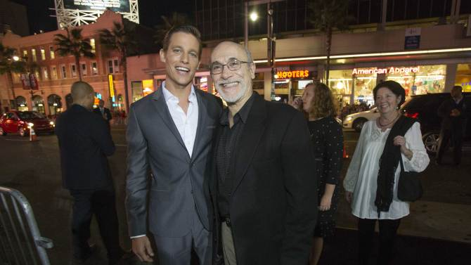 "Cast members Horton and Amendola pose at the premiere of ""Annabelle"" at the TCL Chinese theatre in Hollywood"