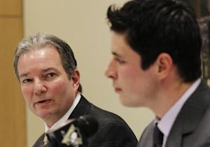 Pittsburgh Penguins' General Manager Shero speaks about player Crosby's injuries during a news conference in Pittsburgh