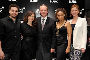 Jan Patrick Schmitz (Montblanc CEO of North America) joined by Ramon Rodriguez, Rosie Perez, Tracie Thoms and Diane Neal at Cast Announcement in Beverly Hills.