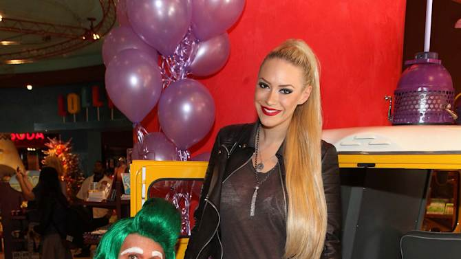 IMAGE DISTRIBUTED FOR WONKA - Kaya Jones is seen with Wonka's Oompa Loompas at the new Wonka store at Sweet! Hollywood for the launch of the Wonka Inventing Room Collection, a decadent premium chocolate line, on Tuesday Nov. 13, 2012, in Los Angeles. (Photo by Casey Rodgers/Invision for WONKA/AP Images)