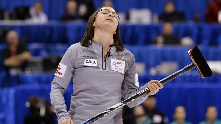 Skip Sweeting reacts after losing to Team Sonnenberg during the Roar of the Rings Canadian Olympic Curling Trials in Winnipeg