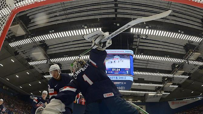 Goaltender Campbell of the US defends next to team mate Jones during their Ice Hockey World Championship game against Russia at the CEZ arena in Ostrava