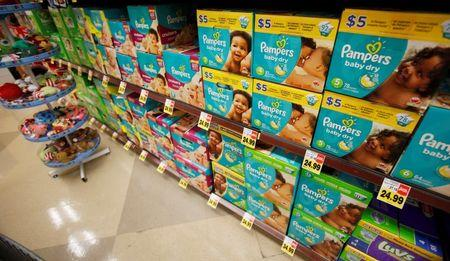 Pampers diapers, a product distributed by Procter & Gamble, is pictured on sale at a Ralphs grocery store in Pasadena