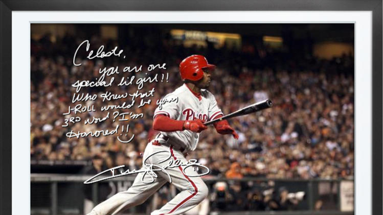 This undated photo provided by Egraphs shows an Egraph signed by Philadelphia Phillies baseball player Jimmy Rollins. Egraphs, launched at the All-Star break, is a technological breakthrough that offers an autographed digital picture with a handwritten note and a personalized audio message for $50.(AP Photo/Egraphs)