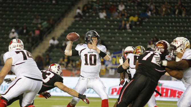 American team quarterback Brad Sorensen (10) of Southern Utah throws a pass during the NFLPA Collegiate Bowl on Saturday, Jan. 19, 2013 in Carson, Calif. (Ric Tapia/AP Images for NFLPA)