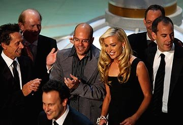 Brian Grazer, Ron Howard, Mitchell Hurwitz, David Cross, Portia de Rossi and Will Arnett of &quot;Arrested Development&quot;