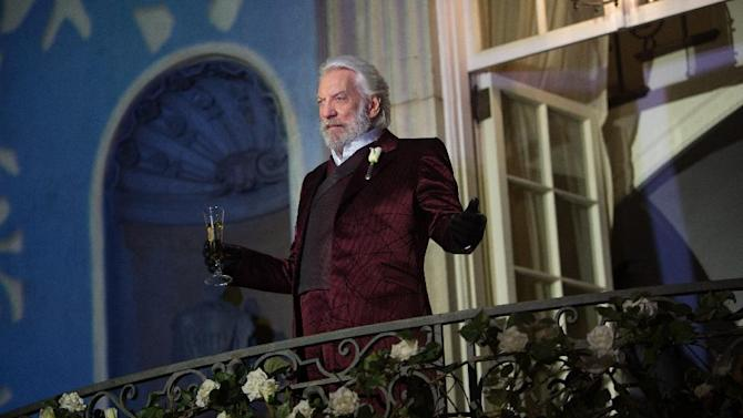 "FILE - This image released by Lionsgate shows Donald Sutherland as President Snow in a scene from the film, ""The Hunger Games: Catching Fire."" Hollywood is expected to have a banner year as box office totals are projected to peak at just under $11 billion, bringing in more multiplex revenue in 2013 than ever before. (AP Photo/Lionsgate, Murray Close, File)"