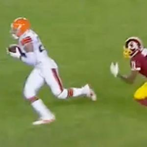 Cleveland Browns cornerback Joe Haden picks off Washington Redskins quarterback Robert Griffin III