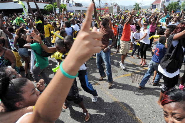 Jamaicans celebrate in the Half Way Tree
