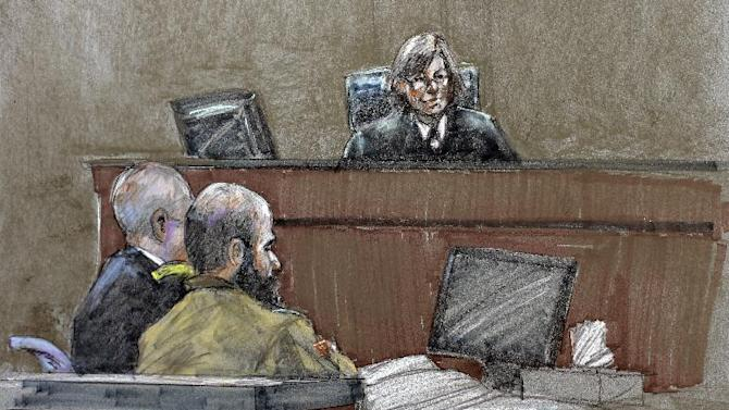 In this courtroom sketch, Maj. Nidal Hasan, center, sits before the judge, U.S. Army Col. Tara Osborn, at the Lawrence William Judicial Center during the sentencing phase of his trial, Wednesday, Aug. 28, 2013, in Fort Hood, Texas. The jury found Hasan unanimously guilty on the 13 charges of premeditated murder in the 2009 shooting at Fort Hood, and he is eligible for the death penalty. (AP Photo/Brigitte Woosley)