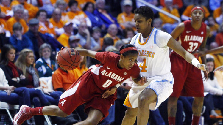 Alabama's Daisha Simmons (0) drives against Tennessee's Kamiko Williams (4) in the first half of an NCAA college basketball game on Sunday, Jan. 20, 2013, in Knoxville, Tenn. (AP Photo/Wade Payne)