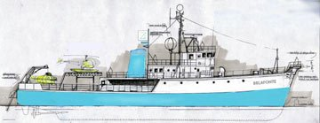 A design for Team Zissou's boat, the Belafonte, from Touchstone Pictures' The Life Aquatic with Steve Zissou