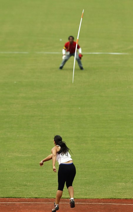 Costa Rica's Arias competes in the women's javelin throw event at the Central American Games in San Jose