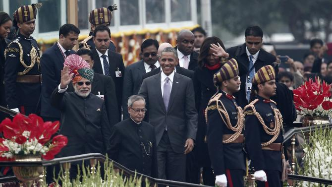 US President Barack Obama leaves after attending the Republic Day parade in New Delhi