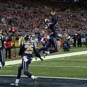 St. Louis Rams cornerback Trumaine Johnson picks off New Orleans Saints QB Drew Brees