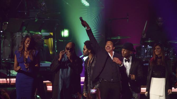 Musicians Adams, Wonder, Kravitz, Richie, Williams and Fairchild perform at the 2016 MusiCares Person of the Year gala in Los Angeles