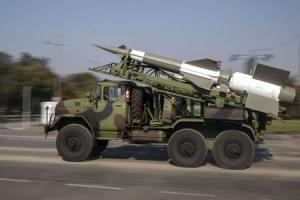 A Serbian army truck carries surface-to-air missiles…
