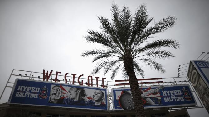 The Westgate shopping mall is seen near the University of Phoenix Stadium, where the Super Bowl XLIX will be held on Sunday, in Glendale