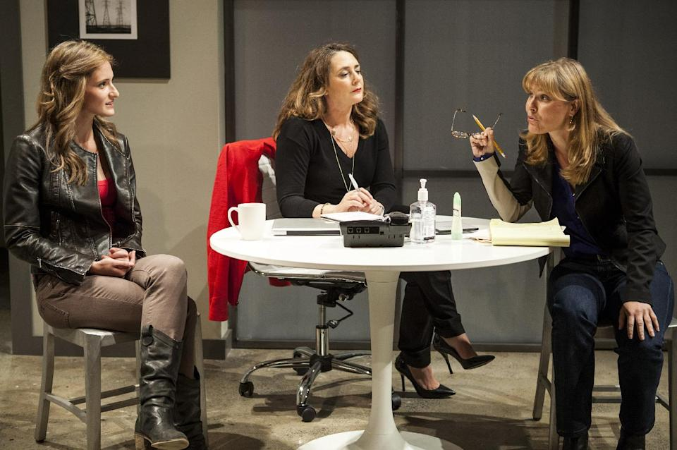 "This theater image released by Boneau/Bryan-Brown shows, from left, Jessica Cummings, Talia Balsam, and Kelly McAndrew in ""Good Television,"" in New York. (AP Photo/Boneau/Bryan-Brown, Kevin Thomas Garcia)"