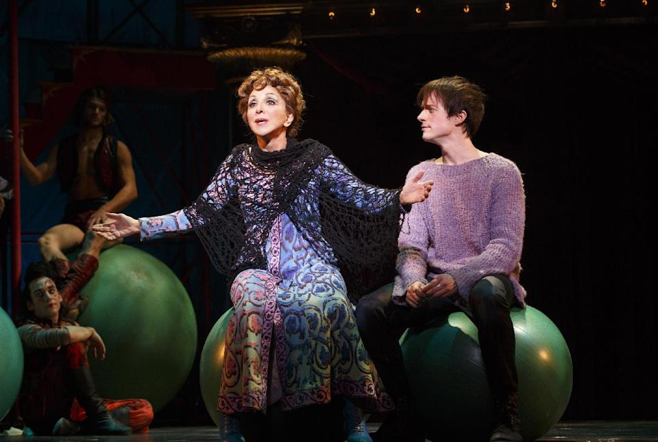 "This theater image released by Boneau/Bryan-Brown shows Andrea Martin, left, and Matthew James Thomas during a performance of ""Pippin,"" at Broadway's Music Box Theatre in New York. ""Pippin"" is nominated for ten Tony Awards. (AP Photo/Boneau/Bryan-Brown, Joan Marcus)"
