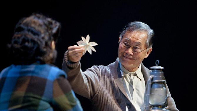 """This undated image released by The Old Globe shows actor George Takei as Ojii-san during a performance of the musical """"Allegiance,"""" performing Sept. 7 - Oct. 21, 2012 at The Old Globe in San Diego. (AP Photo/The Old Globe, Henry DiRocco)"""