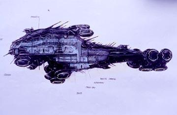 Sketch of the Nebuchadnezzar in Warner Brothers' The Matrix
