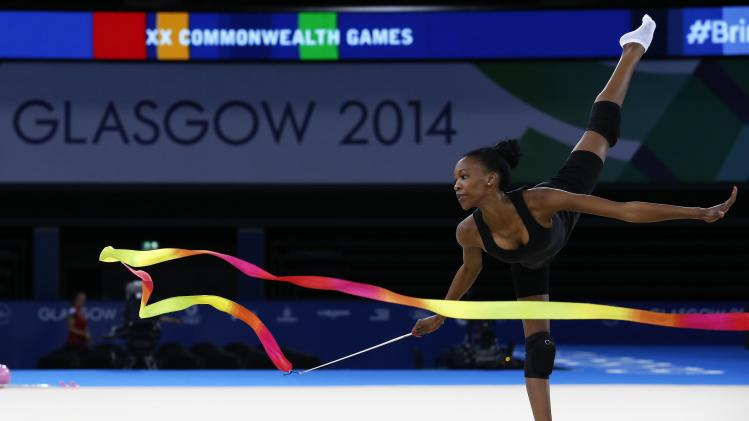 South Africa's Legote takes part in rhythmic gymnastics training in preparation for the Commonwealth Games in Glasgow