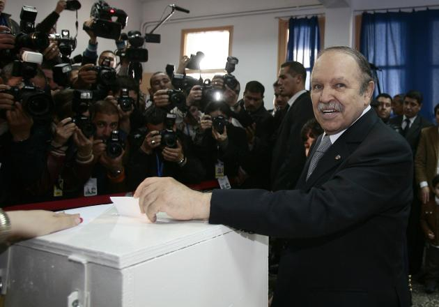 File photo of then-Algerian incumbent President Abdelaziz Bouteflika casting his ballot in Algiers